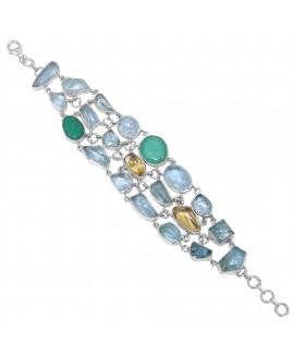 925 Sterling silver Bracelet with Aquamarine, Prehnite & Citrine
