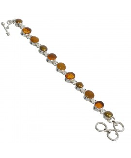 925 Sterling silver Bracelet with Amber & Dyed Brown Pearl