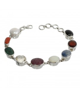 925 Sterling silver Opal, Coral, Pearl, Lemon Quartz, Emerald, Sapphire, Black Star & Azonite Bracelet