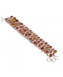 925 Sterling silver Coral & Amber Bracelet