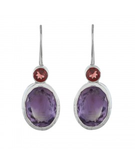 925 Sterling silver Amethyst & Garnet Earrings