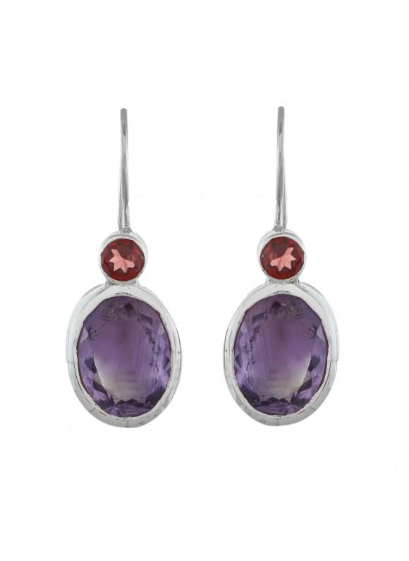 925 Sterling silver Amethyst & Garnet Earrings