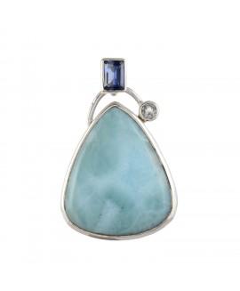 925 Sterling silver Cabochon Larimar & Cut Stone Iolite & Blue Topaz Pendant