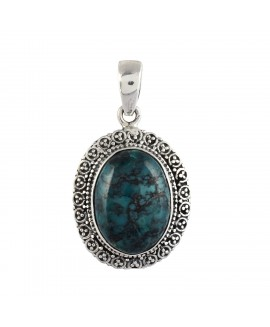 925 Sterling silver Cabochon Tibetan Turquoise Pendant