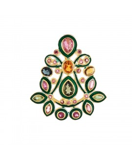 925 Sterling silver Cut Stone Citrine & Tourmaline Pendant with Enamel
