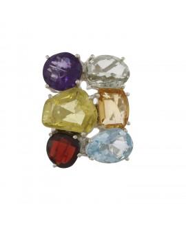 925 Sterling silver Blue Topaz, Citrine, Garnet, Lemon Quartz, Green Amethyst & Amethyst Rings