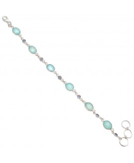 925 Sterling silver Bracelet of Dyed Aqua Chalcy & Iolite