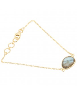 925 Sterling silver Cut Stone Labradorite Bracelet with Gold Polish
