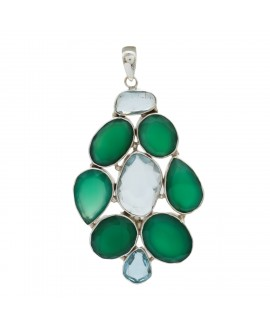 925 Sterling silver Green Onyx & Blue Topaz Pendant