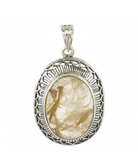 925 Sterling silver Golden Rutile Pendant