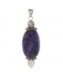 925 Sterling silver Cabochon Charoite & Rainbow Moonstone Pendant