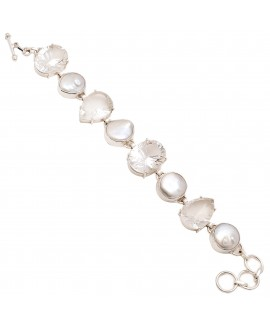 925 Sterling silver Concave Cut Stone Crystal & and Pearl Bracelet