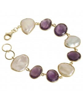 925 Sterling silver Pearl & Amethyst Bracelet with Gold Polish