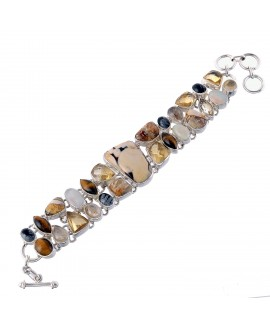925 Sterling silver Opal, Citrine, Tiger Eye, Golden Rutile, Brecciated Mookaite & Coffee bean jasper Bracelet