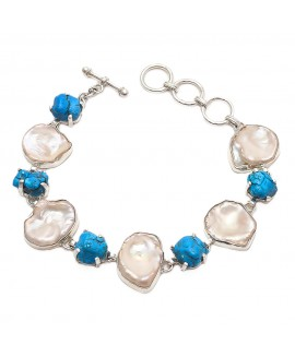 925 Sterling silver Synthetic Turquoise and Pearl Bracelet