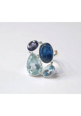 Delicate Blue Topaz Iolite Aquamarine Kyanite Rings Handmade jewelry Rings for women party gift for her Statement rings