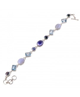 925 Sterling silver Cut Stone Blue Topaz, Blue lace Agate  Pearl & Iolite Bracelet