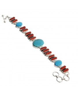 925 Sterling silver Coral & Arizona Turquoise Bracelet