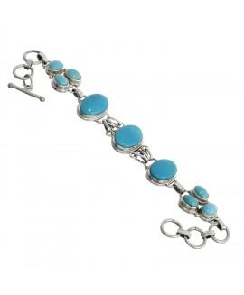 925 Sterling Silver Cabochon Arizona Turquoise Bracelet