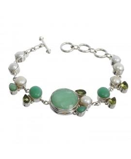 925 Sterling silver Peridot, Pearl & Chrysoprase Bracelet