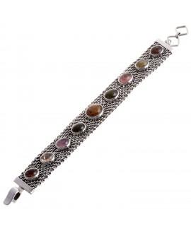 925 Sterling silver Cabochon Tourmaline Bracelet