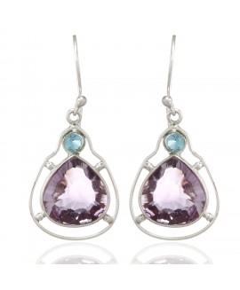 925 Sterling silver Amethyst & Blue Topaz Earrings