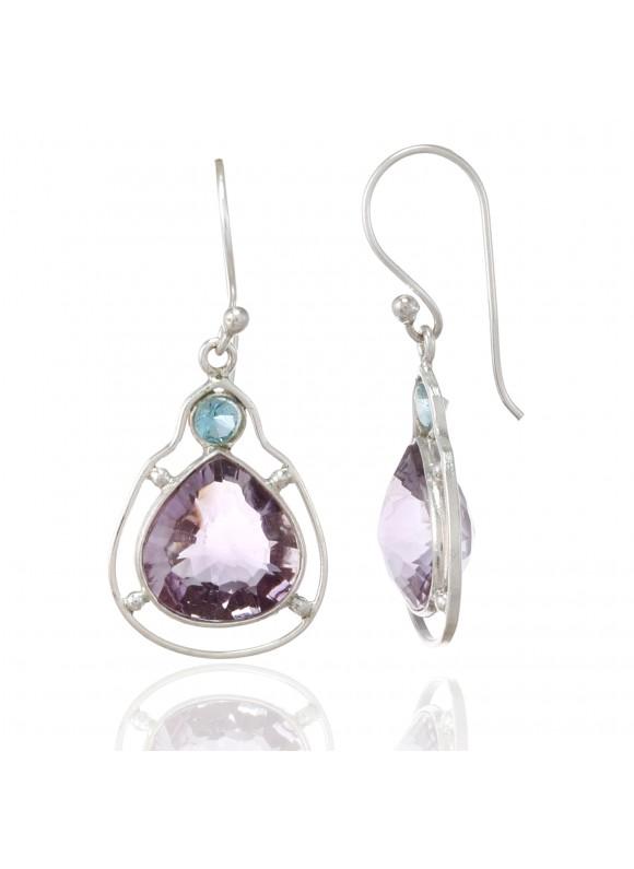 925 Sterling silver Amethyst & Blue Topaz Earrings