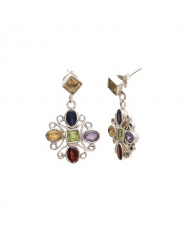 925 Sterling silver Amethyst, Citrine & Garnet Earrings