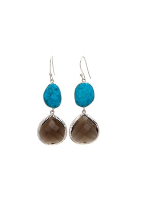 925 Sterling silver Turquoise and Smoky Quartz Earrings
