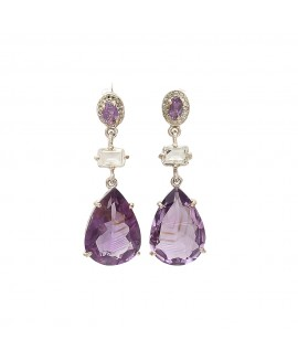 925 Sterling silver Amethyst & Crystal Earrings