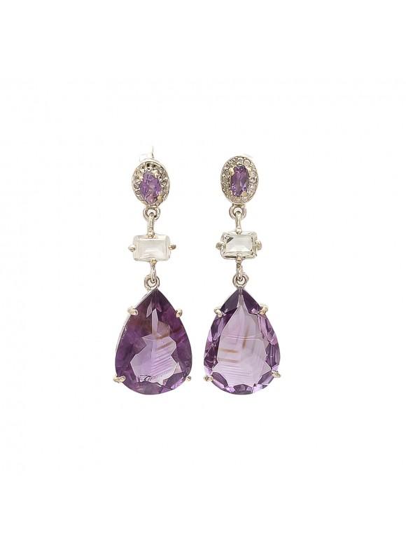 925 Sterling silver Amethyst & Crystal Earrings