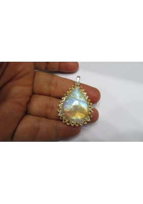 Golden rutile gemstone silver rings