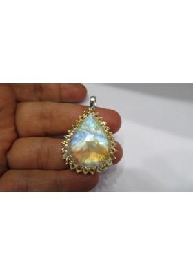 925 sterling silver Rainbow Moonstone & Citrine Pendant