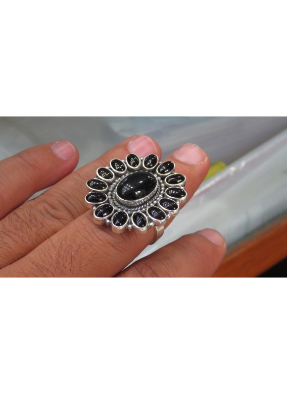 Black Onyx gemstone silver rings