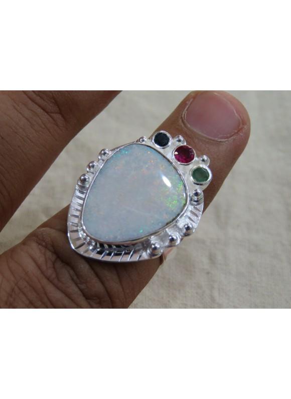Gemstone Doublet Opal, Emerald silver Rings