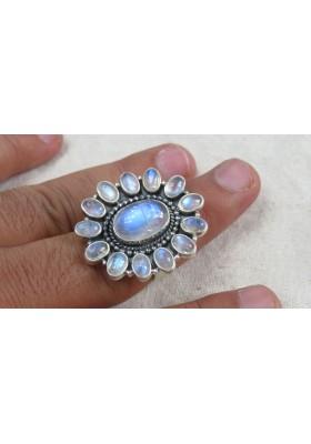 gemstone Rainbow moonstone 925 sterling silver earrings