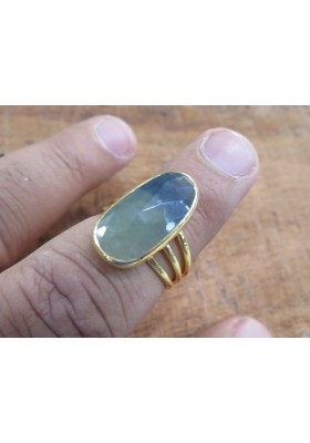 Natural big Sapphire 3 layer silver Statement ring, handmade silver ring, gold polish Ring, Women Wedding Jewelry, mother day gift,