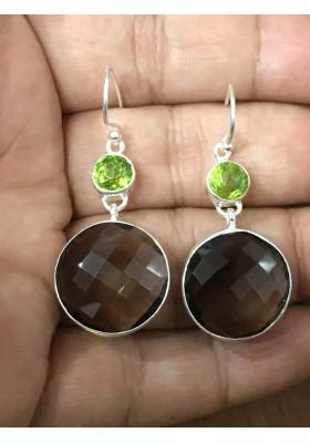 peridot & Smoky quartz Earrings