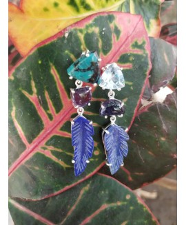 Natural Gemstone Blue Topaz, Amethyst & Lapis Earring, antique stud earring crazy cool couture fancy, Wedding Gift for her, Birthday Gift
