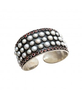 925 Sterling silver Pearl & Garnet Bangle with Black Rhodium