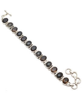 925 Sterling silver Black Rutile and Smokey Quartz Bracelet