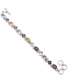 925 Sterling silver Cut Stone Garnet, Blue Topaz, Iolite, Peridot, Citrine & Amethyst Bracelet
