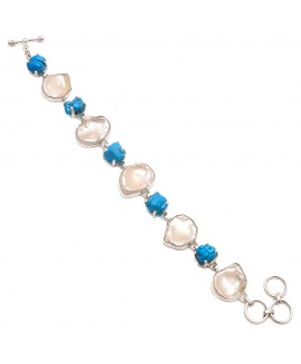 925 Sterling silver Pearl and Synthetic Turquoise Bracelet