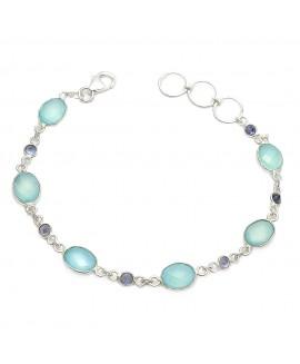 925 Sterling silver Iolite & Dyed Aqua Chalcy Bracelet