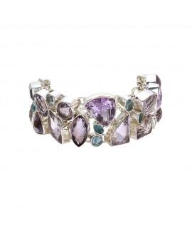 925 Sterling silver Pink Amethyst, Blue Topaz & Apetite Bracelet