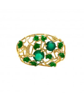 925 Sterling silver Cut Stone Green Onyx Broach with Enamel