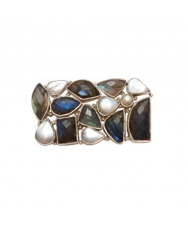 925 Sterling silver Broach with Labradorite & Pearl