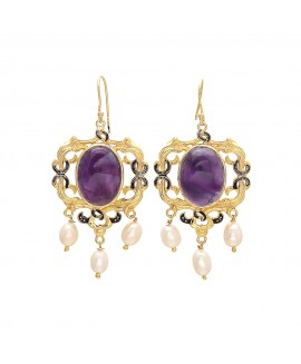 925 Sterling silver Amethyst & Pearl Earrings