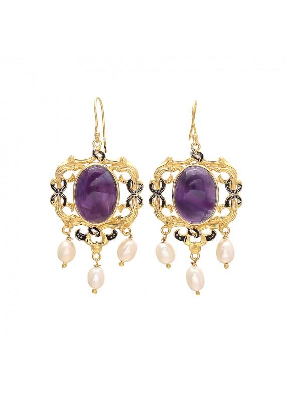 925 Sterling silver Amethyst & Pearl Earrings