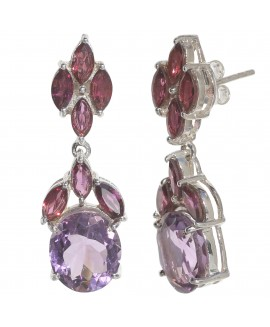 925 Sterling silver Amethyst & Rhodolite Earrings